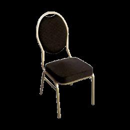 Chaise Matignon pieds couleur or et revêtement noir