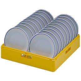 Casier jaune pour 18 assiettes plates